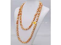 10-11mm golden yellow nugget pearl rope long necklace