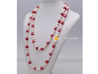 10-11mm grape & white nugget pearl rope long necklace