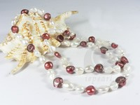 10-11mm nugget cultured brown & white pearl necklace wholesale
