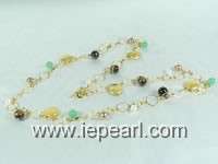 heart toggle pearl bead Golden round loop long necklace online