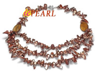 brown freshwater pearl necklace with shell beads wholesale