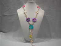 freshwater top drilled pearl necklace with shell & crystal beads