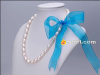8-9mm white rice pearl necklace with ribbon tie wholesale