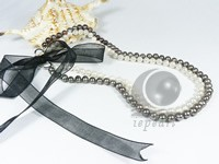 Double row 7-8mm black & white pearl necklace in discount price