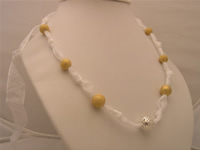 Pure white ribbon necklace with 14mm 18K GP argent hollow beads