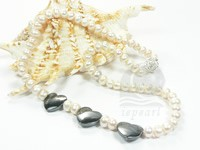 Final sale White freshwater button pearl & hematite beads neckla