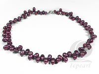 6-7mm dyed wine red side drilled pearl necklace wholesale