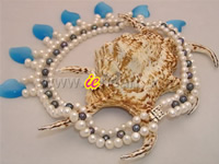 Wholesale knitted 6-7mm white & black freshwater pearl necklace