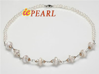 4-5mm white round freshwater pearl necklace with coin pearl