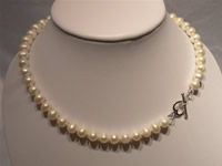 8-9mm potato shaped pearl necklace with sterling silver clasp