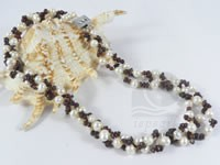 3 twisted strands 6-7mm freshwater pearl necklace mixing garnets