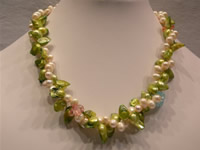 Freshwater pearl necklace with blister pearls & top drille pearl