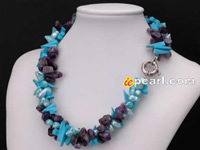 Wholesale twisted blister pearl necklace with amethyst ,turquois