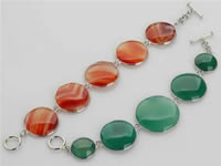 wholesale round agate beaded bracelet jewelry, green & blue colo