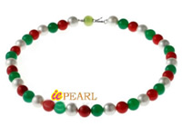 10mm round beads jade coral & shell pearl necklace wholesale
