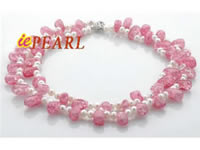 Wholesale pink flake crystals necklace with freshwater pearls