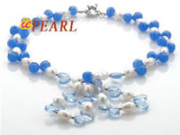 Wholesale necklace with sky blue rain drop crystal beads