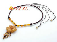 Hand knitted Yellow Jade pendant necklace wholesale