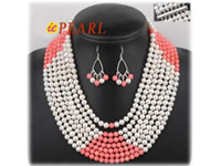 6-7mm white freshwater pearl necklace earrings set wholesale