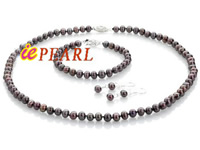 Wholesale 7-8mm cultured pearl necklace, bracelet, earrings