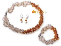 3 twisted strand top drilled freshwater pearl necklace wholesale