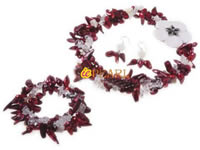 Three twisted strands wine red blister pearl necklace wholesale