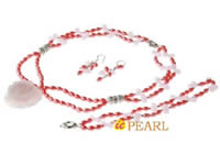 5-6mm rice pearl necklace with rose quartz pendant wholesale