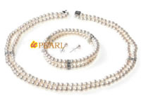 6-7mm freshwater button pearl jewelry set in wholesale online