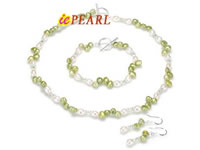 green keshi pearl jewelry set with crystal beads wholesale