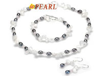 Wholesale white keshi pearl jewelry set with crystal beads