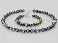 black potato shaped freshwater pearl necklace & bracelet sell
