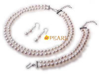 Double-row white pearl choker necklace in wholesale