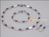 8*16mm oblong white pearl purple crystal jewelry  wholesale