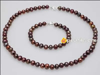 7-8mm off-round brown pearl necklace & bracelet set wholesale