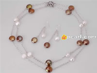 double row coin & nugget pearl jewelry set wholesale online
