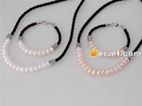 8-9mm clean button pearl cord jewelry set wholesale online