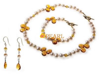 7-8mm potato pearl crystal jewelry set wholesale in low price