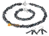 4-5mm black nugget pearl twisted bridesmaid jewelry wholesale