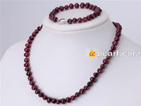 7-8mm Metallic Purple pearl jewelry set wholesale