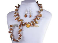 Two twisted strands light brown blister pearl necklace wholesale