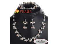 pink & white freshwater pearl necklace bracelet earrings on sell
