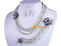three rows Keishi freshwater pearl jewelry set wholesale
