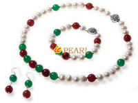 single strand 7.5-8.5mm pearl & jade necklace wholesale