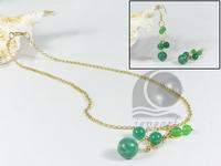 wholesale green Malaysia jade necklace earrings set jewelry