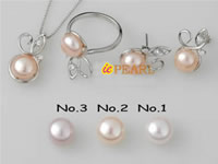 8.5-9mm button pearl jewelry set in 925 silver wholesale