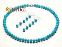wholesale 7.5-8mm dishing turquoise necklace & earrings set