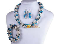 3 strands twisted turquoise necklace with genuine pearl on sell