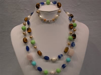 Necklace set made of tiger eyes,turquoise beads & shell pearls
