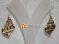 Wholesale 30mm sterling shell earrings with sterling silver hook