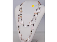Wholesale double shapes shell necklace with long-drilled pearls